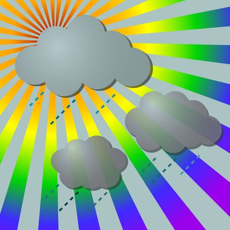 Rainy in rainbow rays with clouds,  illustration Vector