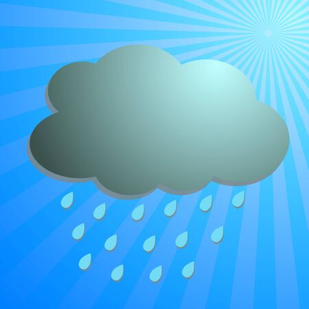 Clouds and rain drop with blue rays,  illustration Stock Vector - 17800643