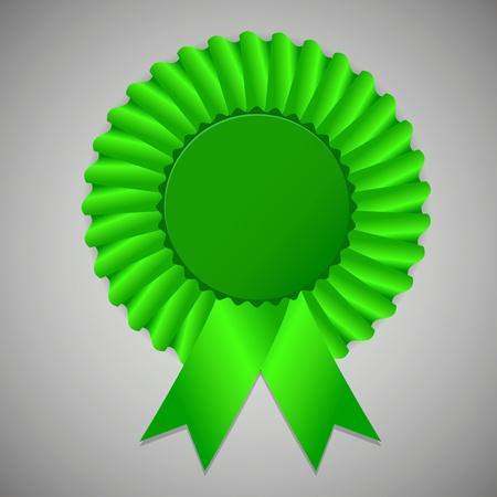award ribbon rosette: Green award ribbon rosette on gray background, vector illustration