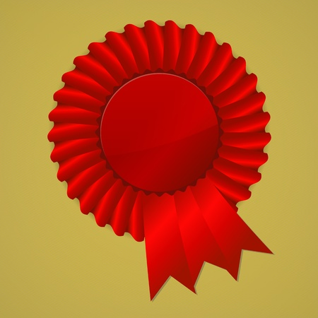 award ribbon rosette: Red award ribbon rosette on gold background, vector illustration