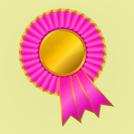 award ribbon rosette: Pink and gold award ribbon rosette on yellow background, vector illustration