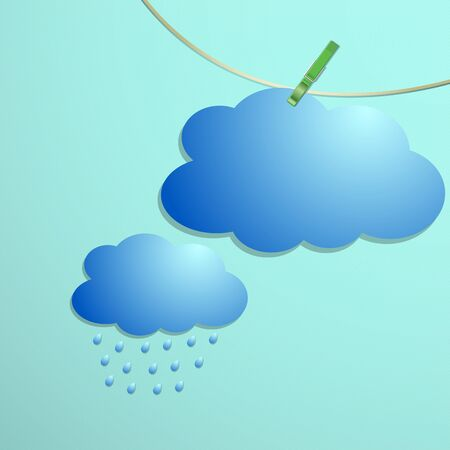 Cloud and rain drops icon hang on string, vector illustration Stock Vector - 18030371