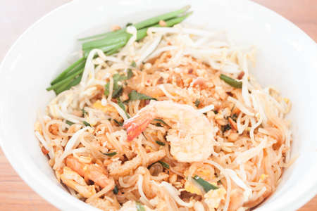 Stir fried noodle with shrimp, thai cuisine photo