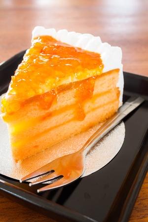 Whipped cream orange marmalade cake photo