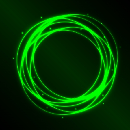 spirals: Abstract background with green plasma circle effect, vector illustration