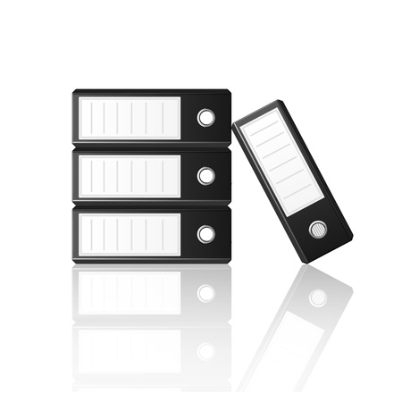 noticeable: Black binders isolated on white background, vector illustration Illustration