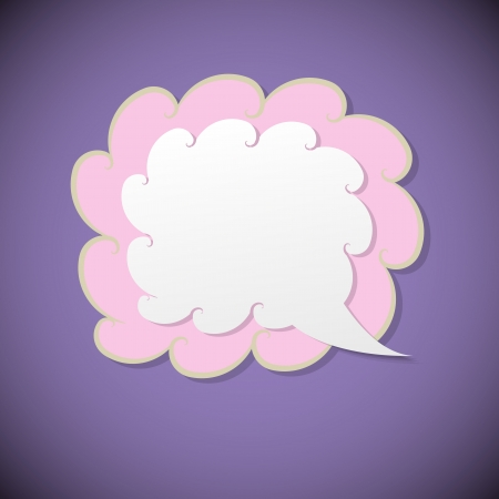 Retro speech bubble on violet background, vector illustration Vector