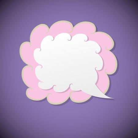 Retro speech bubble on violet background, vector illustration Ilustração