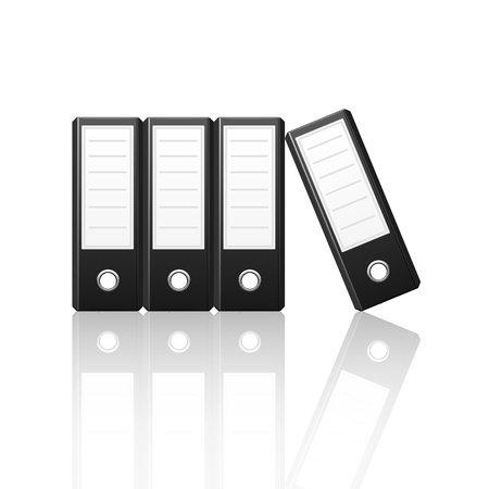 Black binders vertical isolated on white background, vector illustration Stock Vector - 18755325