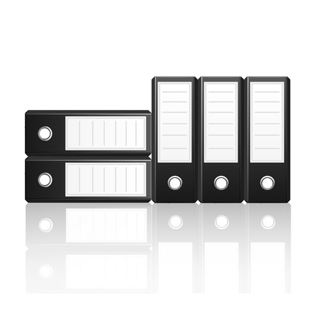 Black binders vertical and  horizontal isolated on white background, vector illustration Stock Vector - 18755326