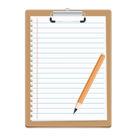 Clipboard with blank paper and pensil, vector illustration Stock Vector - 18755329