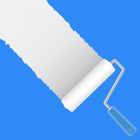 Paint roller brush with white, vector illustration Illustration