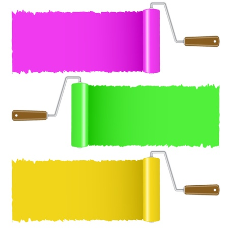 polygraphy: Set of colorful paint roller brush, vector illustration