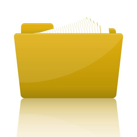 Yellow file folder with paper, vector illustration Stock Vector - 18989992