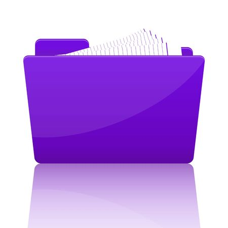 Purple file folder with paper, vector illustration Vector