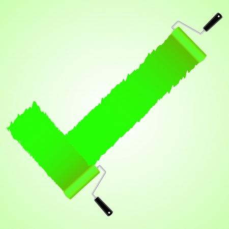 rollerbrush: Green check symbol from paint roller brush, illustration