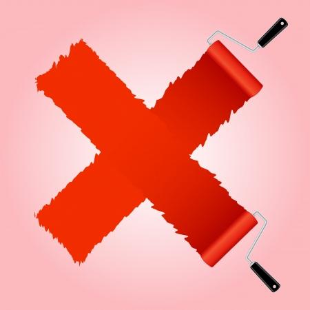 rollerbrush: Red cross symbol from paint roller brush, illustration Illustration