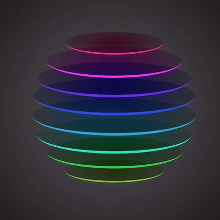 layered sphere: Colourful sliced sphere on dark background,  illustration Illustration