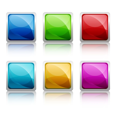 Set of colourful square glass botton,  illustration Stock Vector - 19113239
