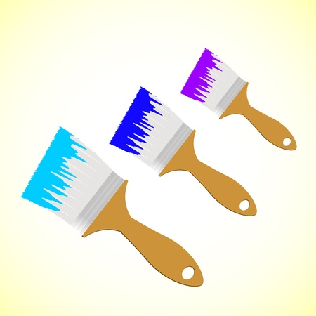 Three colour paint brushes on yellow smooth background Stock Vector - 19243559