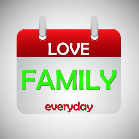 everyday: Love family everyday calendar icon, vector illustration