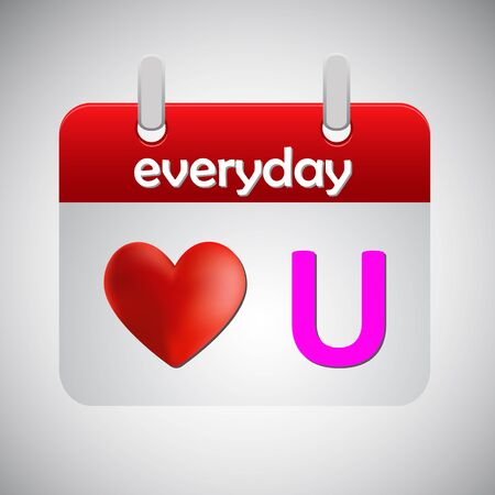 everyday: Love you everyday calendar icon Illustration