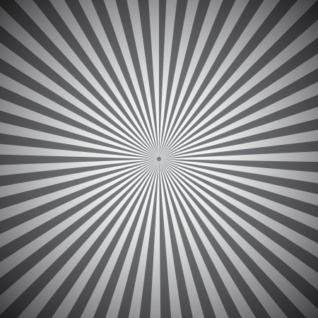 Gray radial rays abstract background, vector illustration