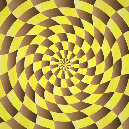 twisty: Abstract yellow-brown shading background illustration of twisty stripes with a radial gradient Illustration