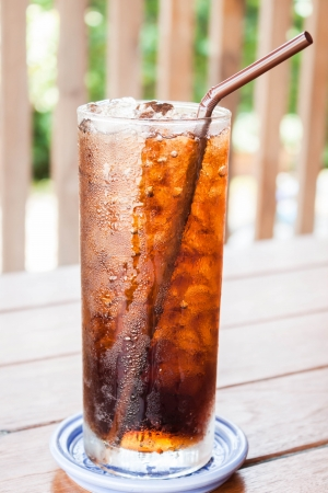 A glass of fresh cola drink with ice photo
