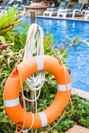Life ring prepare for safe guard in swimming pool