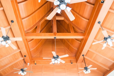Stand by of classical wood style ceiling fans Stock Photo - 20420581