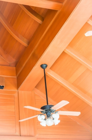 ceiling fan: Hanging wood ceiling fan with glass lamps