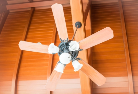 Beautiful hanging ceiling fan with glass lamps up close