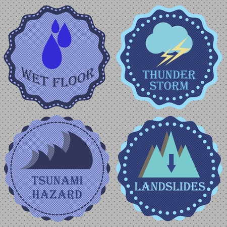 Set of retro badge for caution, stock vector Stock Vector - 20841210