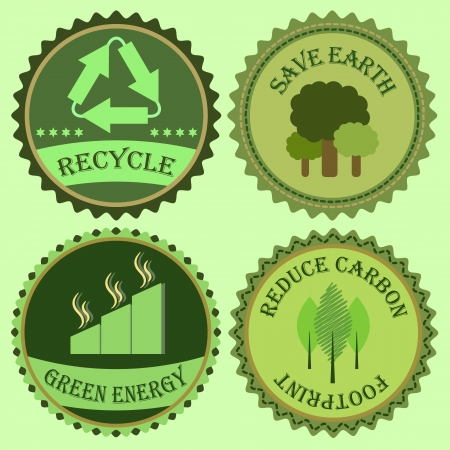 green footprint: Set of go green collections, stock vector Illustration