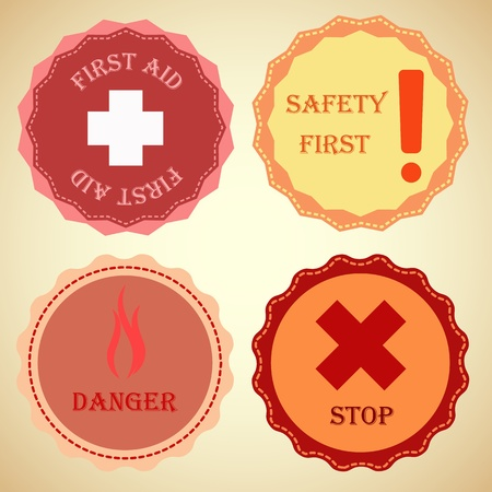 Retro badge collection of warning, stock vector Vector