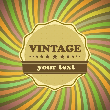 Vintage label on sunrays background, stock vector Vector
