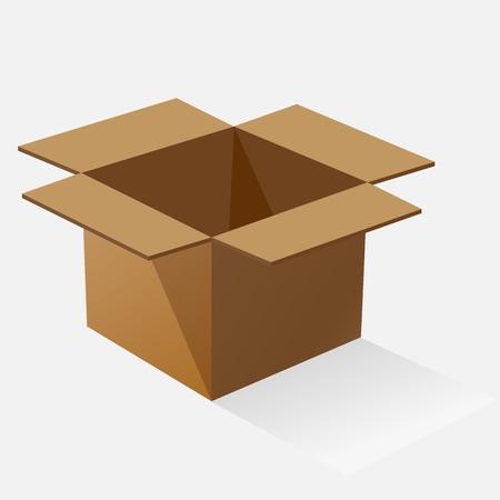 株式ベクトル影と茶色の紙箱を開けた