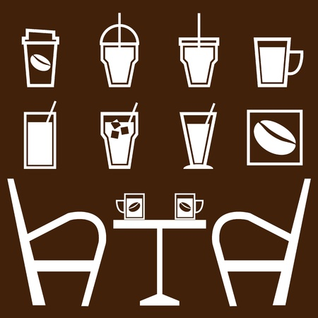 Set of drinks in coffee shop, stock vector Vector