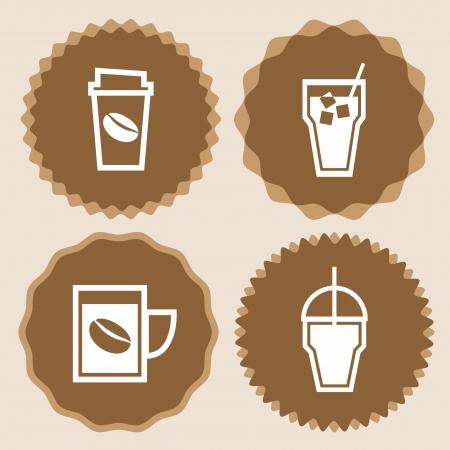 コーヒー カップ アイコン バッジ セット