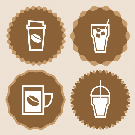 coffee to go: Coffee cup icons badge set