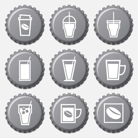 Coffee cup icon on bottle caps set Stock Vector - 21820449