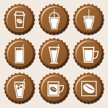 Set of coffee cup icon on bottle caps Vector