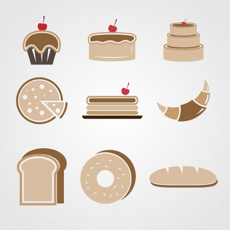 Variety of bakery color icons 矢量图像