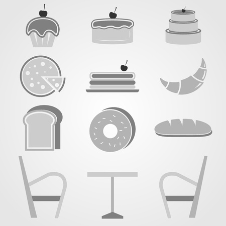 Variety of bakery icons in coffee shop Stock Vector - 21820481