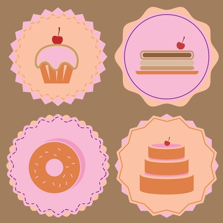 Variety of bakery icon color badges, stock vector Stock Vector - 21948452