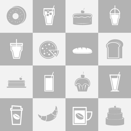 Bakery and drinks elements for coffee shop, stock vector Vector