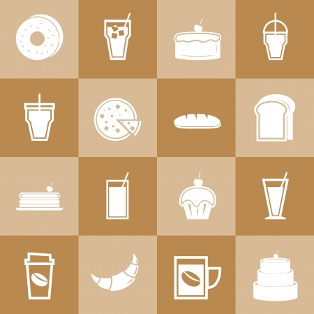 Set of bakery and drinks elements for coffee shop, stock vector Vector