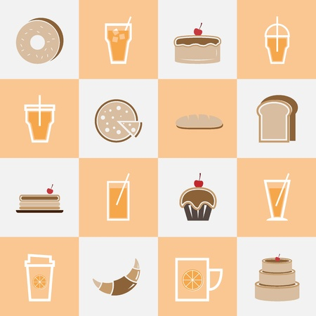 Set of bakery and orange juice elements for drinks shop, stock vector Vector