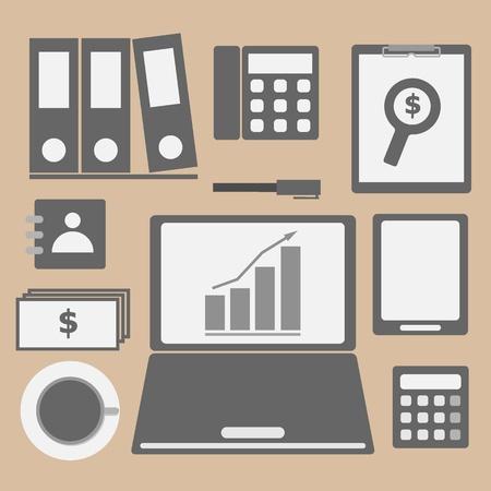 investor: Internet investor at home office icon, stock vector Illustration